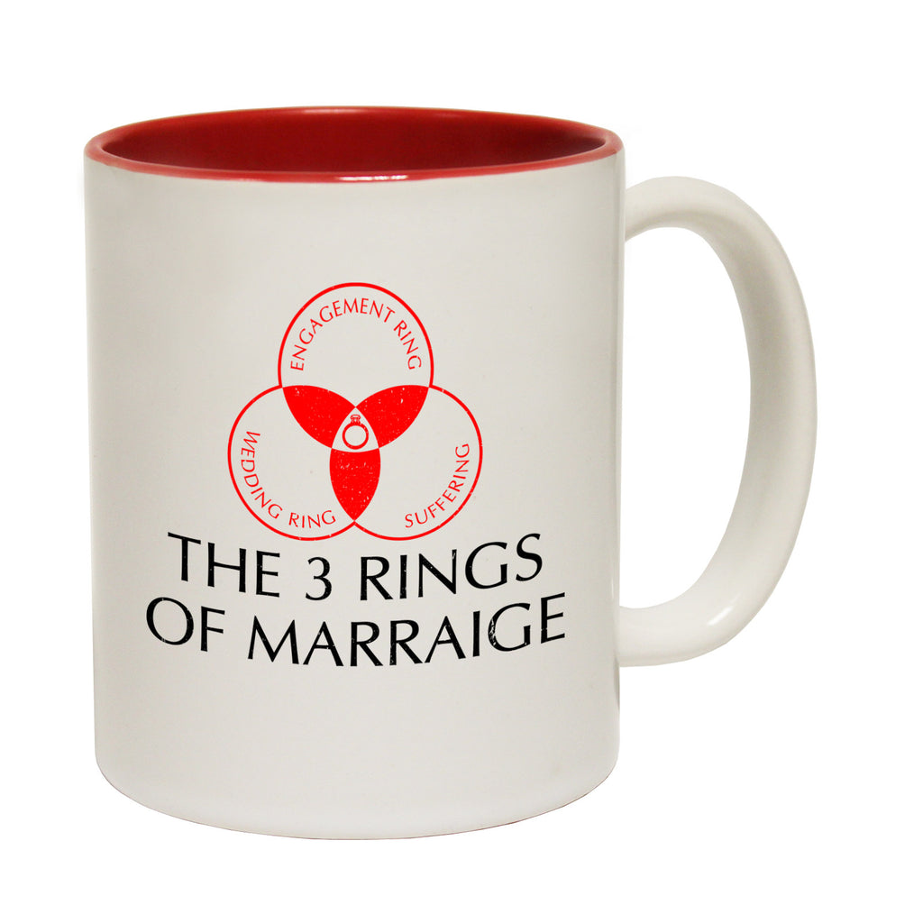 123t The 3 Rings Of Marriage: Engagement Wedding Suffering Funny Mug