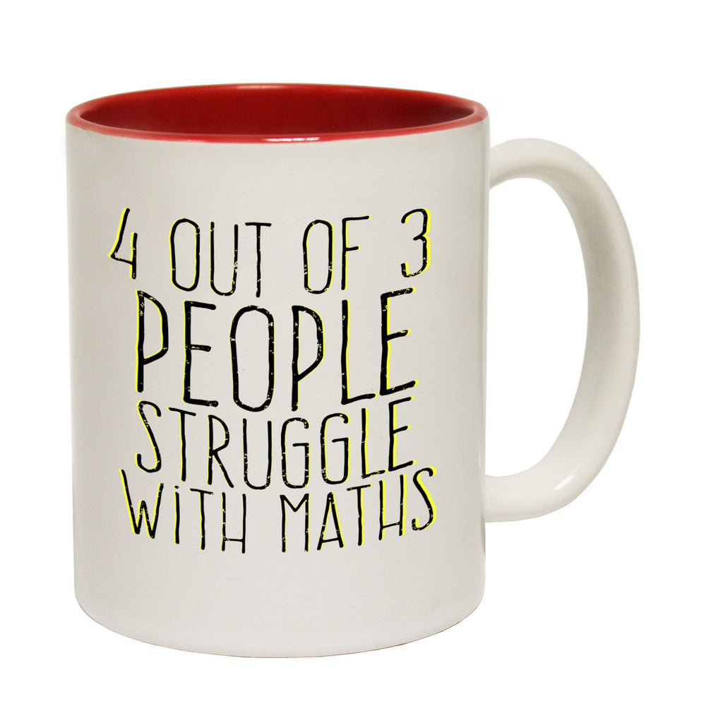 123t 4 Out Of 3 People Struggle With Maths Funny Mug, 123t Mugs