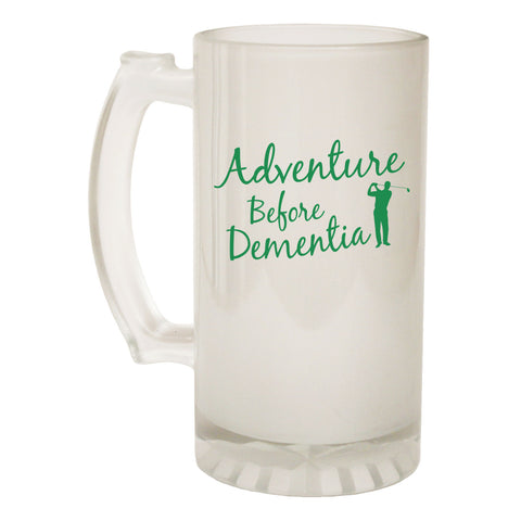 123t Frosted Glass Beer Stein - Adventure Dementia Golf - Funny Novelty Birthday