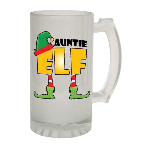123t Frosted Glass Beer Stein - Auntie Elf Family - Funny Novelty Birthday