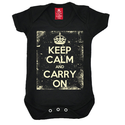 Official Keep Calm And Carry On ... Distressed Babygrow