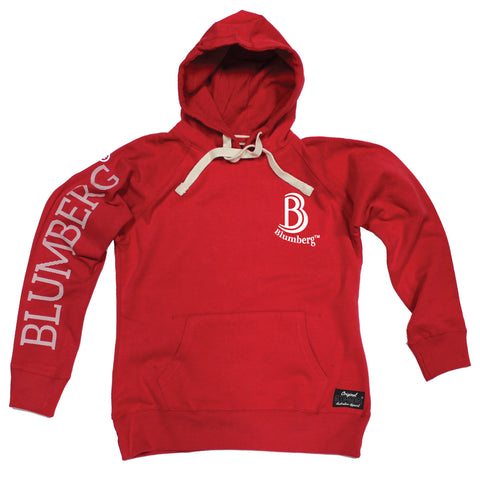 Women's B Blumberg Logo White Text Breast Pocket Design - Premium Hoodie