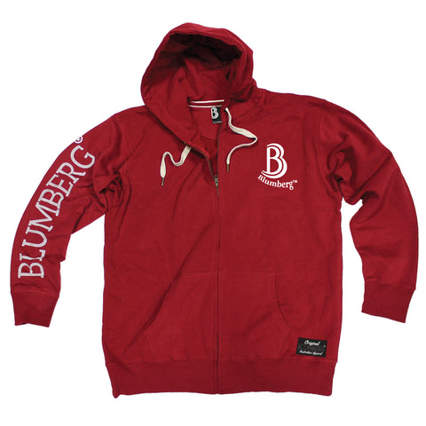 Women's B Blumberg Logo White Text Breast Pocket Design - Premium ZIP Hoodie