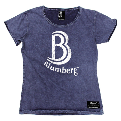 Women's B Blumberg White Text Chest Design Premium Denim T-Shirt