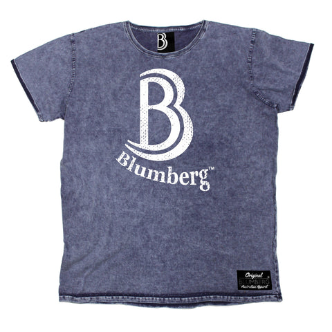 Men's B Blumberg White Text Chest Design Premium Denim T-Shirt