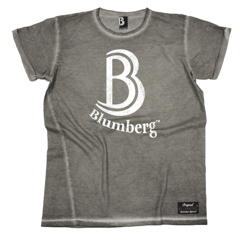 Men's B Blumberg White Text Chest Design Vintage T-Shirt