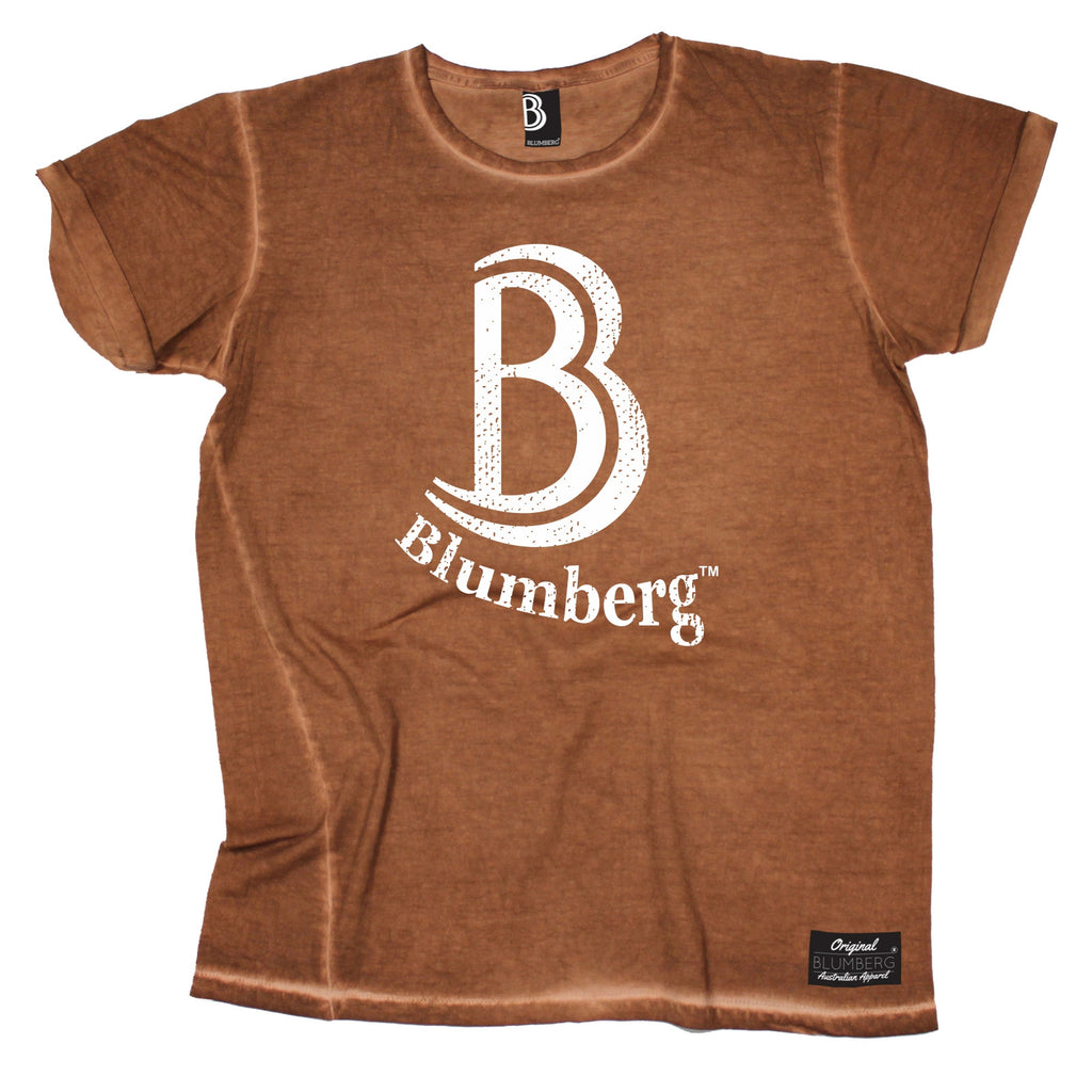 Women's B Blumberg White Text Chest Design - Vintage T-Shirt
