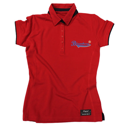Women's Blumberg Blue Text Pocket Design Premium Polo Shirt
