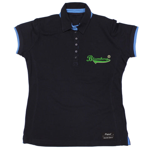 Women's Blumberg Green Text Breast Pocket Design Premium Polo Shirt