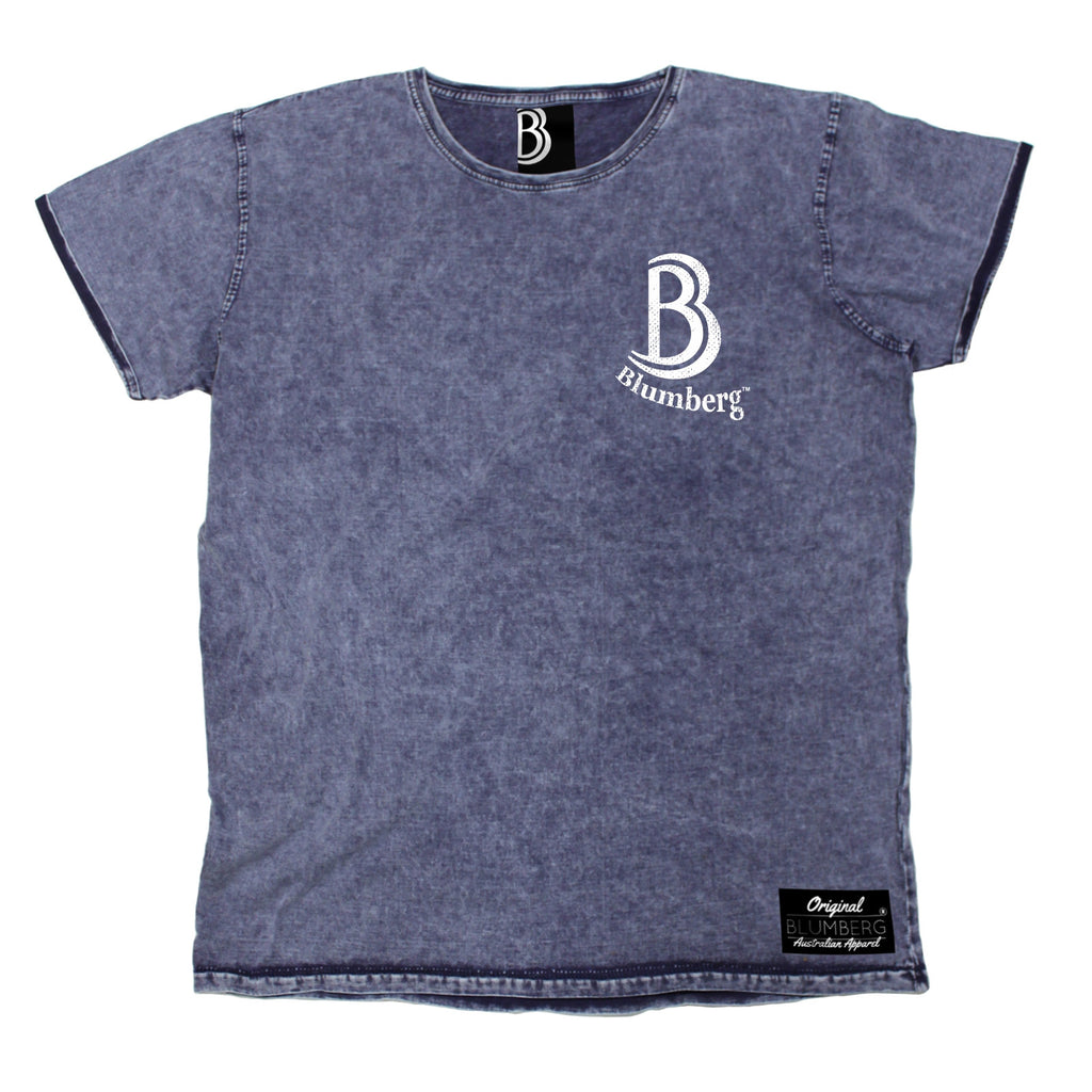 Men's B Blumberg Logo White Text Breast Pocket Design Premium Denim T-Shirt