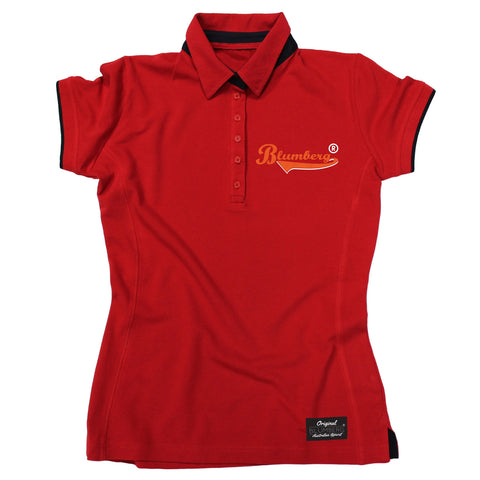 Women's Blumberg Orange Text Breast Pocket Design Premium Polo Shirt