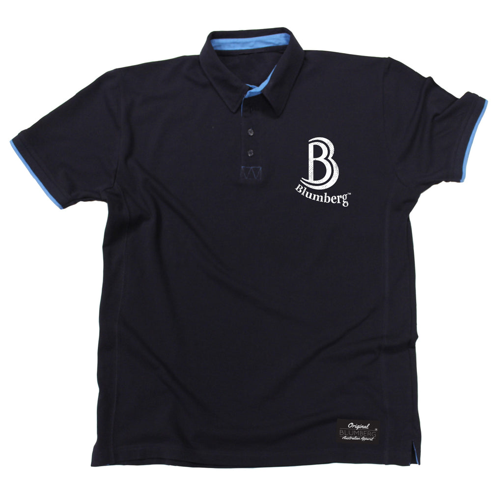 Blumberg Australia Men's B Blumberg Logo White Text Breast Pocket Design Premium Polo Shirt
