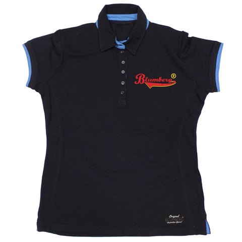 Women's Blumberg Red/Yellow Text Breast Pocket Design Premium Polo Shirt