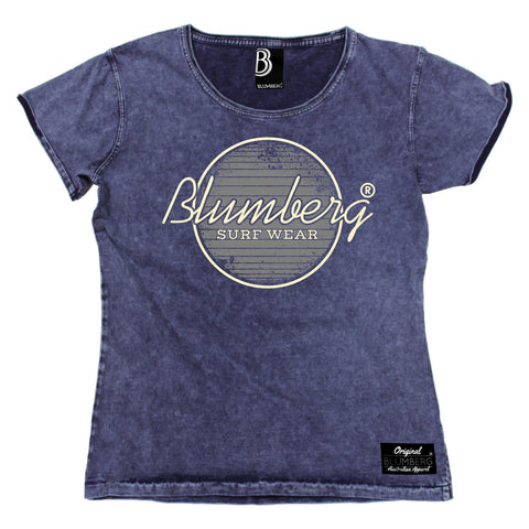 Women's Blumberg Surf Wear Grey Design Premium Denim T-Shirt