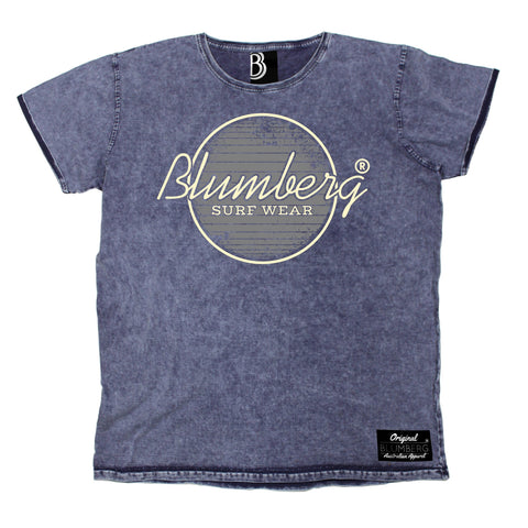 Men's Blumberg Surf Wear Grey Design Premium Denim T-Shirt