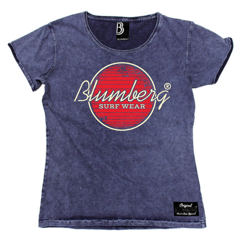Women's Blumberg Surf Wear Red Design Premium Denim T-Shirt