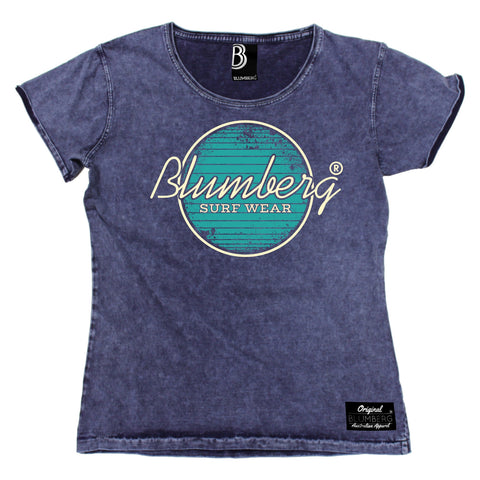 Women's Blumberg Surf Wear Turquoise Design Premium Denim T-Shirt