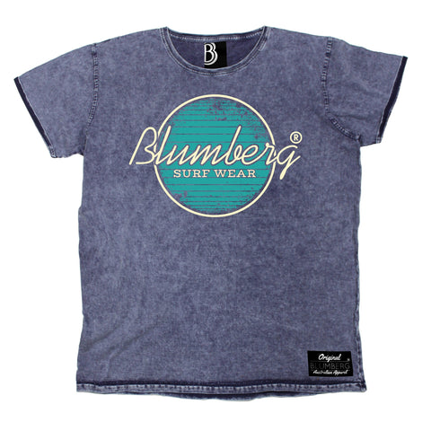 Men's Blumberg Surf Wear Turquoise Design Premium Denim T-Shirt