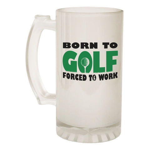 123t Frosted Glass Beer Stein - Born To Golf Golfer - Funny Novelty Birthday