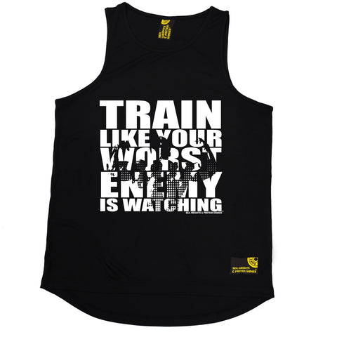 SWPS Train Like Your Enemy Is Watching Sex Weights And Protein Shakes Gym Men's Training Vest