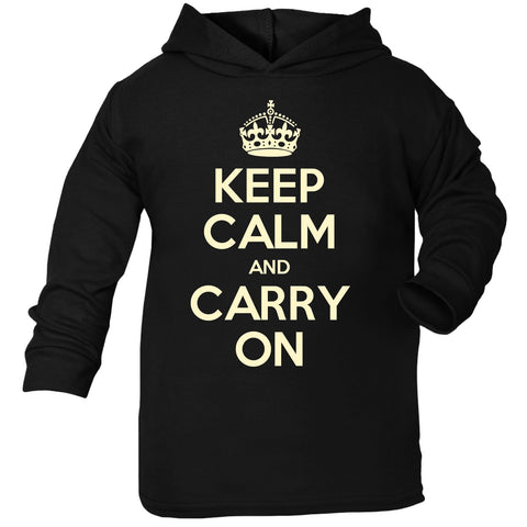 Official Keep Calm And Carry On Toddlers Cotton Hoodie