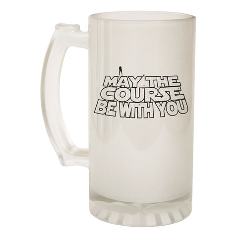 123t Frosted Glass Beer Stein - Course Be With You Golfer - Funny Novelty Birthday