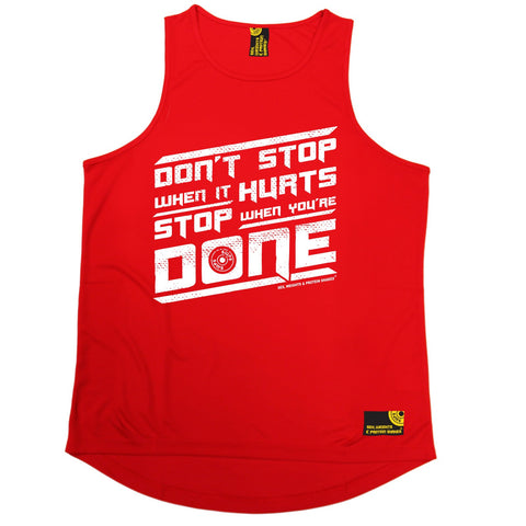 SWPS Don't Stop When It Hurts Sex Weights And Protein Shakes Gym Men's Training Vest