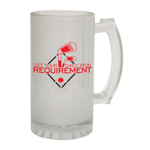123t Frosted Glass Beer Stein - Daily Iron Requirement Golf Golfer - Funny Novelty Birthday