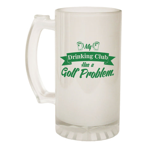 123t Frosted Glass Beer Stein - Drinking Club Golf Golfing - Funny Novelty Birthday