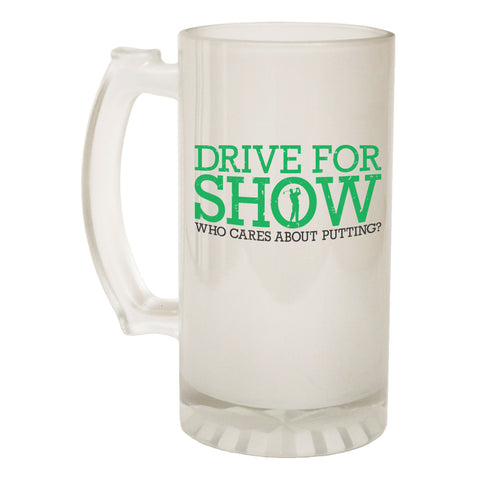 123t Frosted Glass Beer Stein - Drive For Show Golf - Funny Novelty Birthday