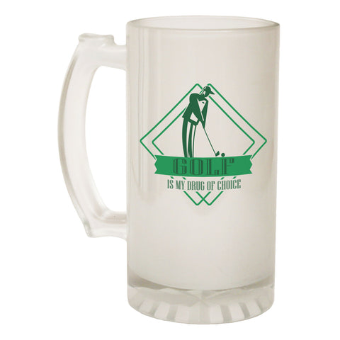 123t Frosted Glass Beer Stein - Drug Of Choice Golf - Funny Novelty Birthday