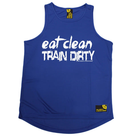 SWPS Eat Clean Train Dirty Sex Weights And Protein Shakes Gym Men's Training Vest