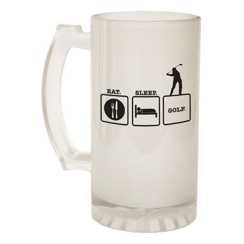 123t Frosted Glass Beer Stein - Eat Sleep Golf Golfing - Funny Novelty Birthday