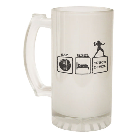 123t Frosted Glass Beer Stein - Eat Sleep Rugby - Funny Novelty Birthday