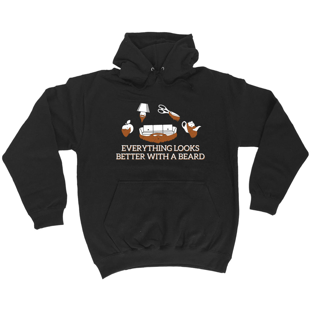 123t Everything Looks Better With A Beard Funny Hoodie