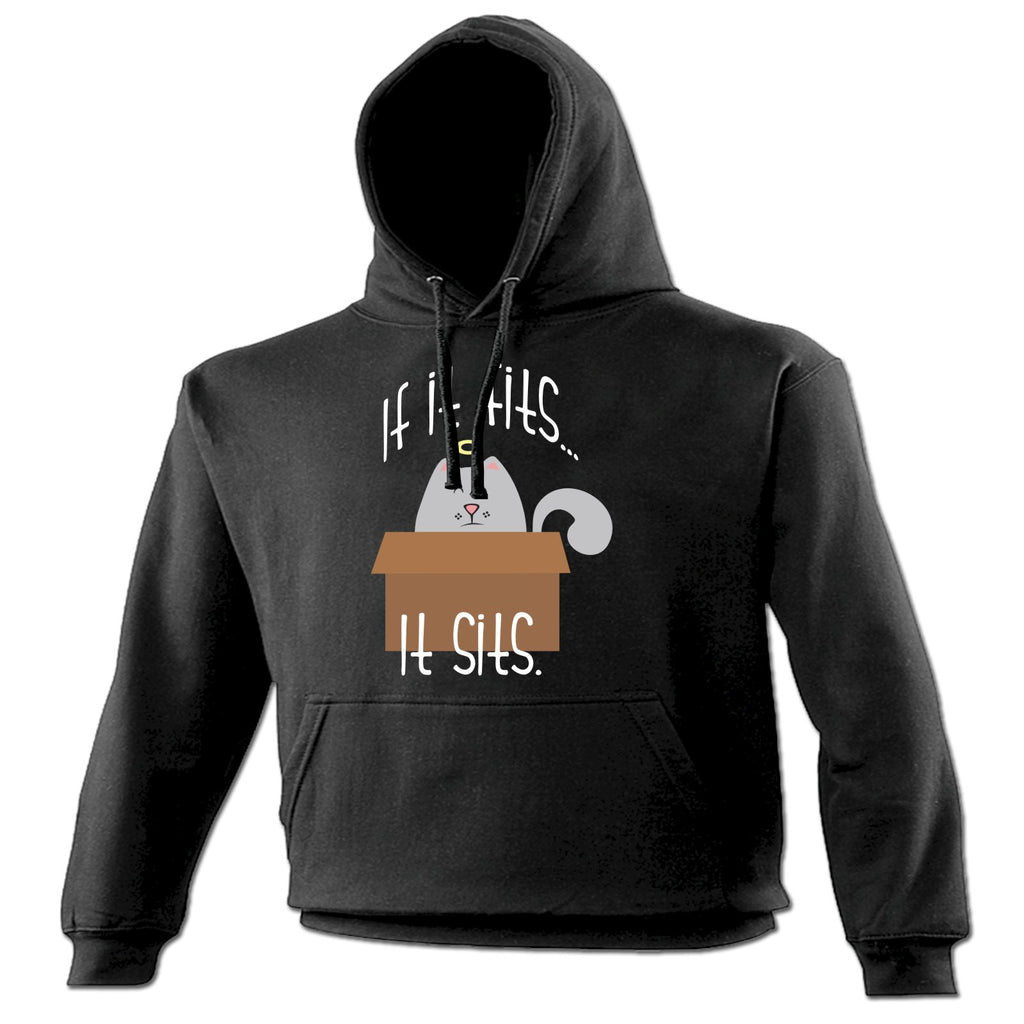 123t If It Fits It Sits Cat In A Box Design Funny Hoodie