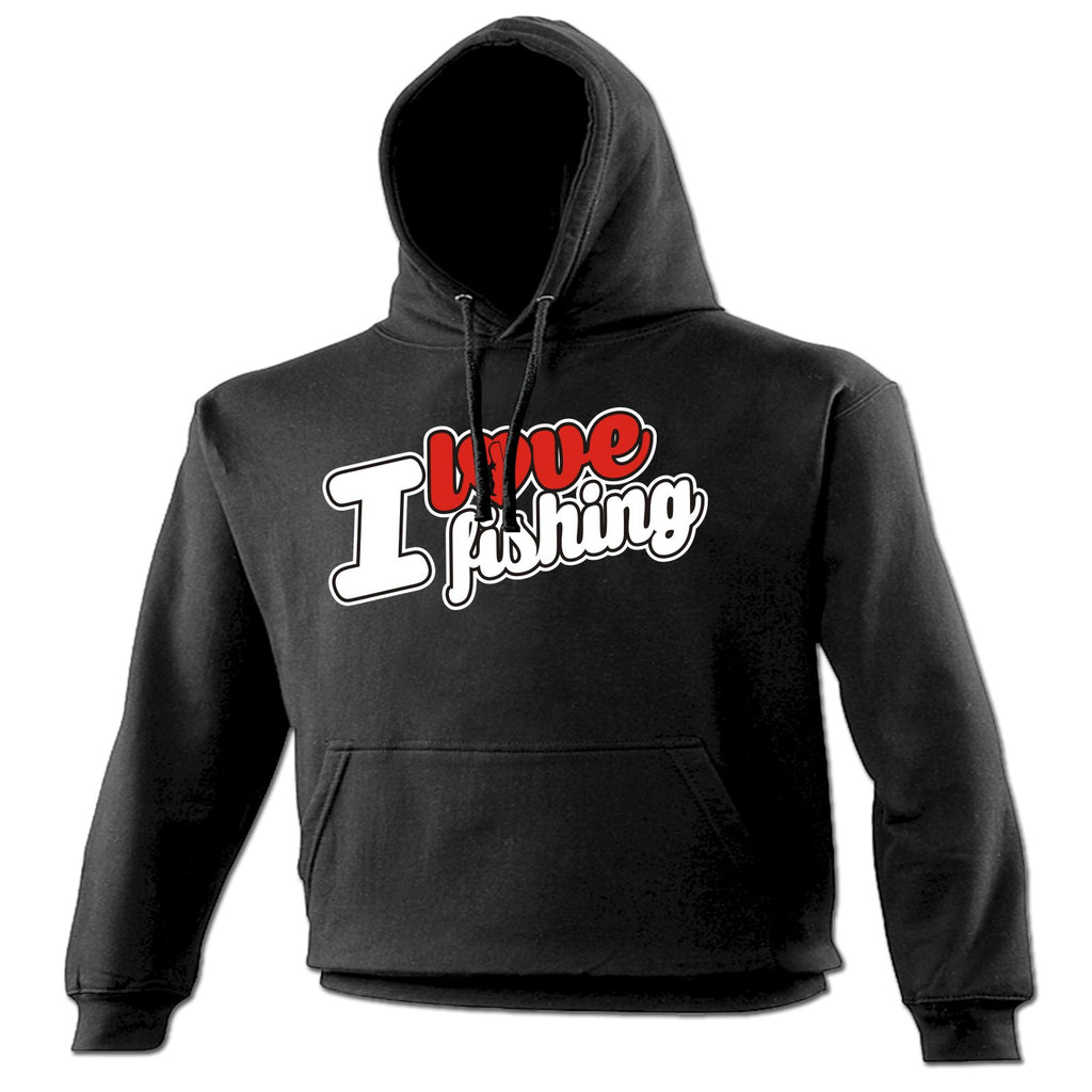 123t I Love Fishing Rod Heart Design Funny Hoodie