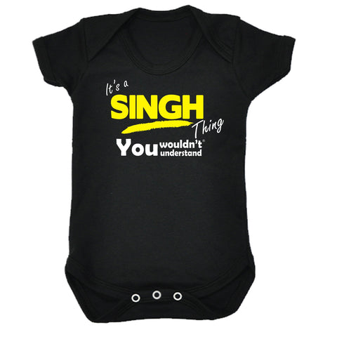 123t Baby It's A Singh Thing You Wouldn't Understand Funny Babygrow