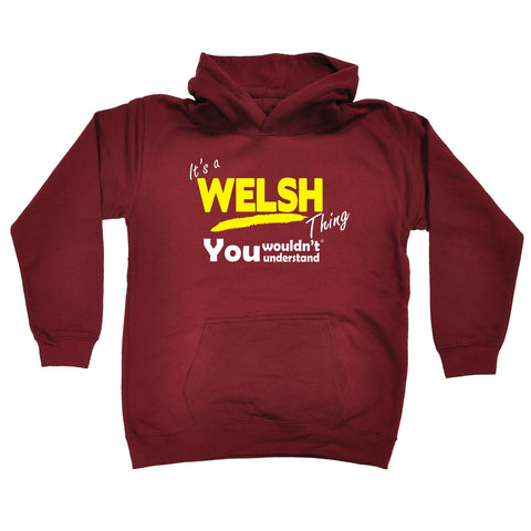 123t Kids It's A Welsh Thing You Wouldn't Understand Funny Hoodie Ages 1-13