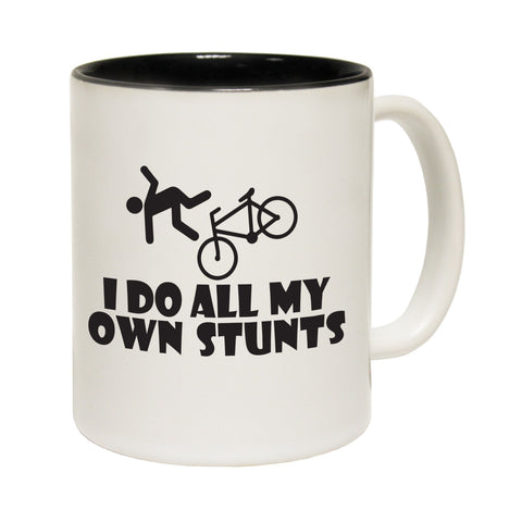 123T Funny Mugs - I Do All My Stunts Cycling - Coffee Cup