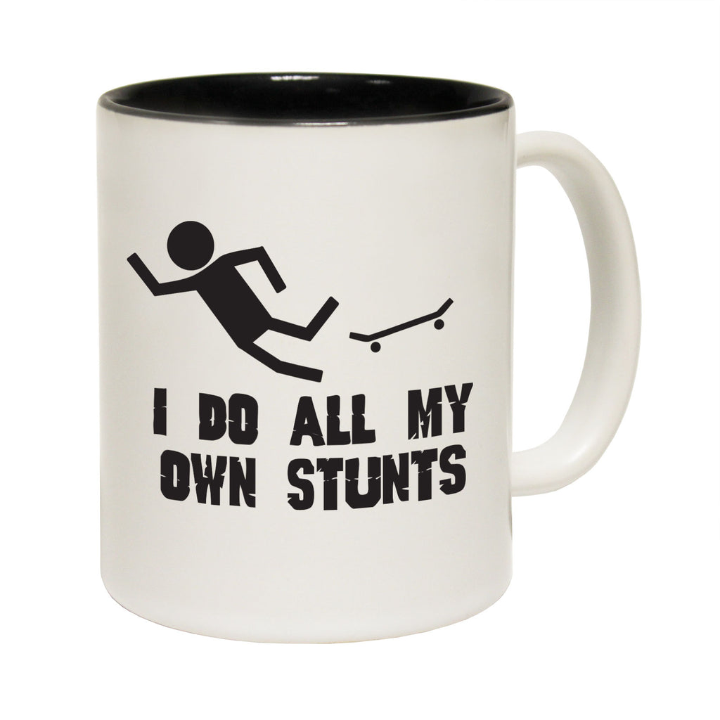 123T Funny Mugs - I Do All My Stunts Skate - Coffee Cup