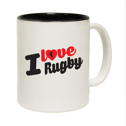 123T Funny Mugs - I Love Rugby - Coffee Cup
