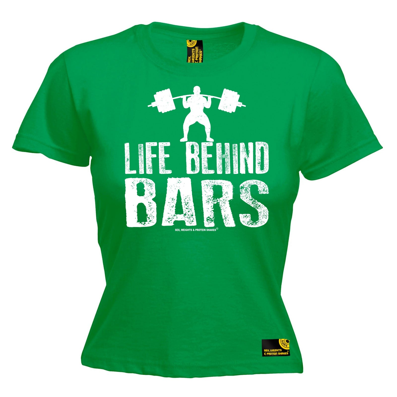 Life Behind Bars Weight Lifting Womens T Shirt Workout Gym