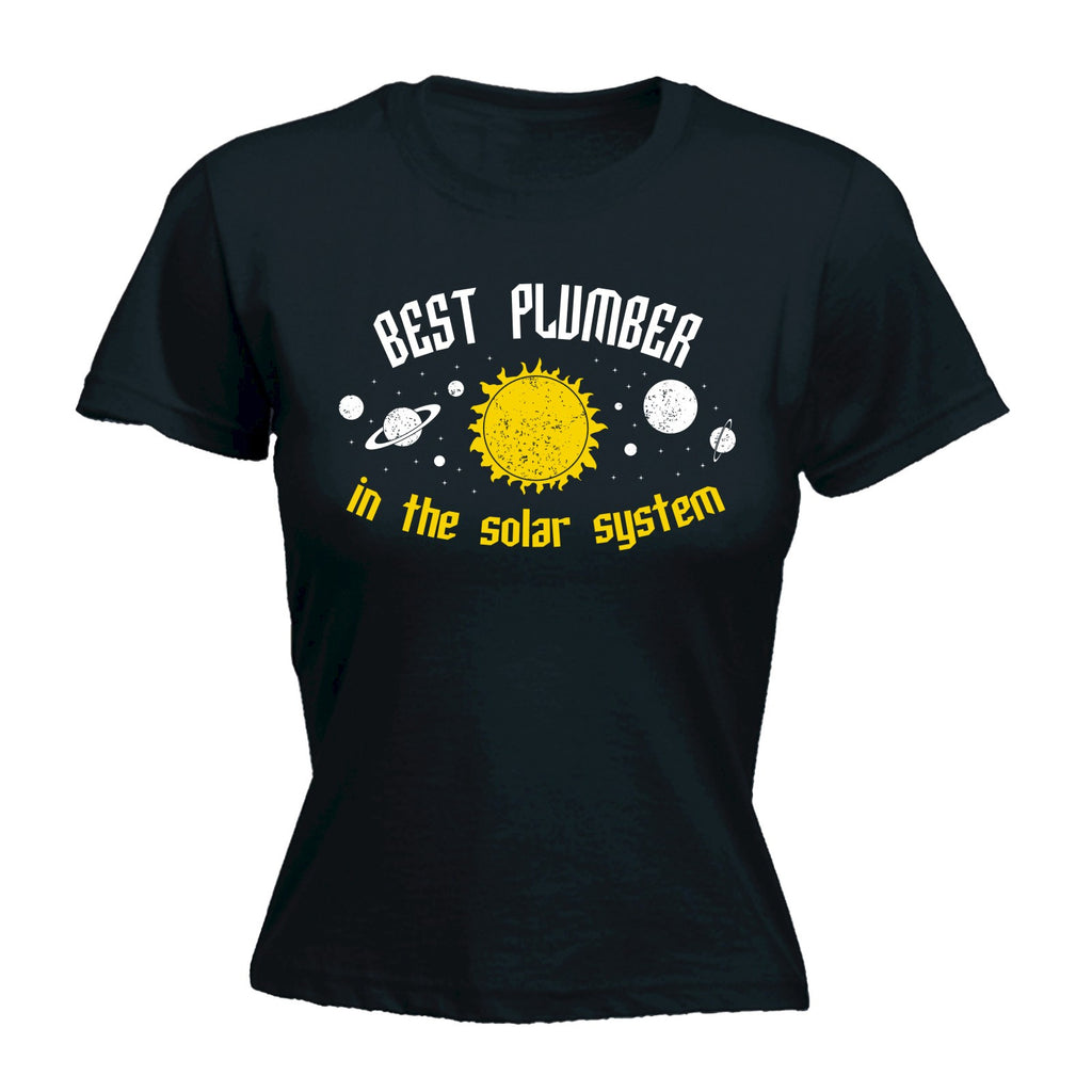 123t Women's Best Plumber In The Solar System Galaxy Design Funny T-Shirt