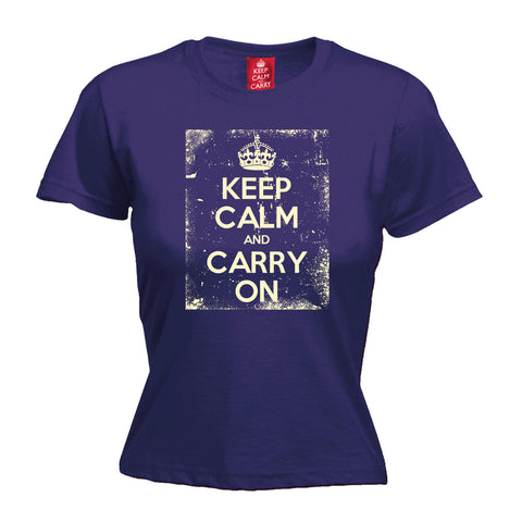 Women's Official Keep Calm And Carry On ... Distressed T-Shirt