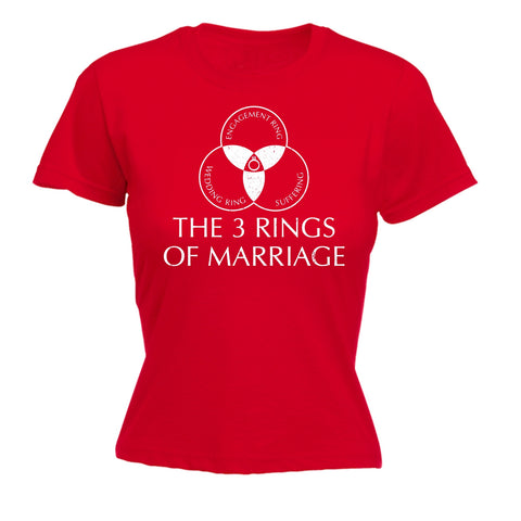 123t Women's The 3 Rings Of Marriage Engagement Wedding Suffering Design Funny T-Shirt
