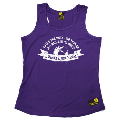SWPS Two Things Training More Training Sex Weights And Protein Shakes Gym Girlie Training Vest