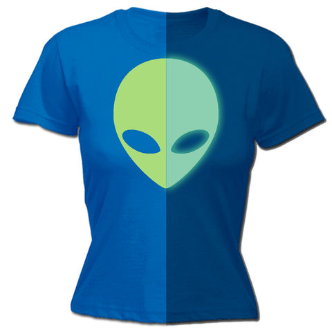 123t Women's Alien Design Glow In The Dark Funny T-Shirt