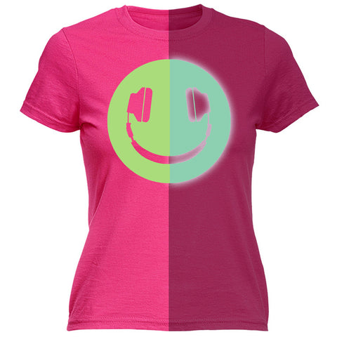123t Women's Headphone Smiley Design Glow In The Dark Funny T-Shirt