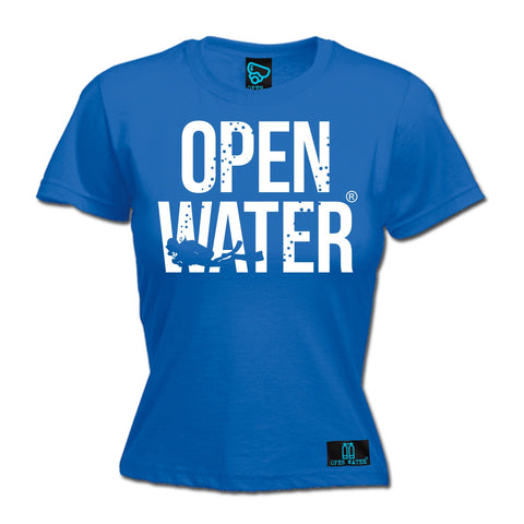 Open Water Women's Diver Bold Text Design Scuba Diving T-Shirt